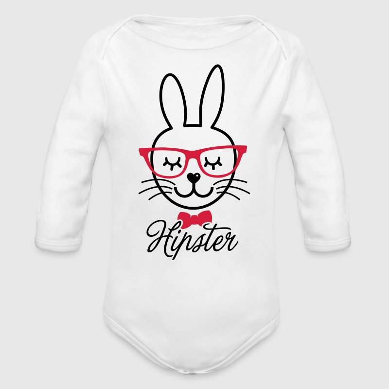 Like a hipsta hipster easter bunny rabbit face Hoodies - Organic Longsleeve Baby Bodysuit