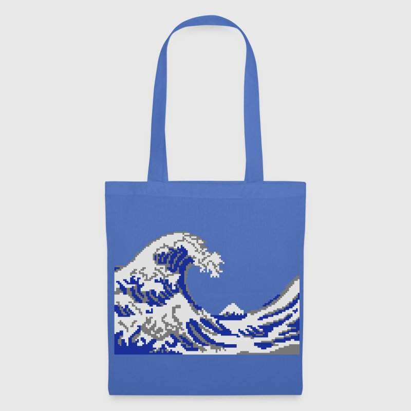 Hokusai pixel art vague 3 couleurs Sacs - Tote Bag
