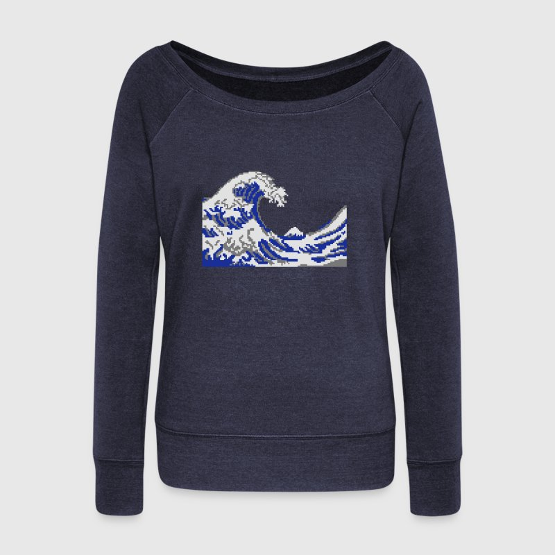 Hokusai wave pixelart 3 colouHoodies & Sweatshirts - Women's Boat Neck Long Sleeve Top