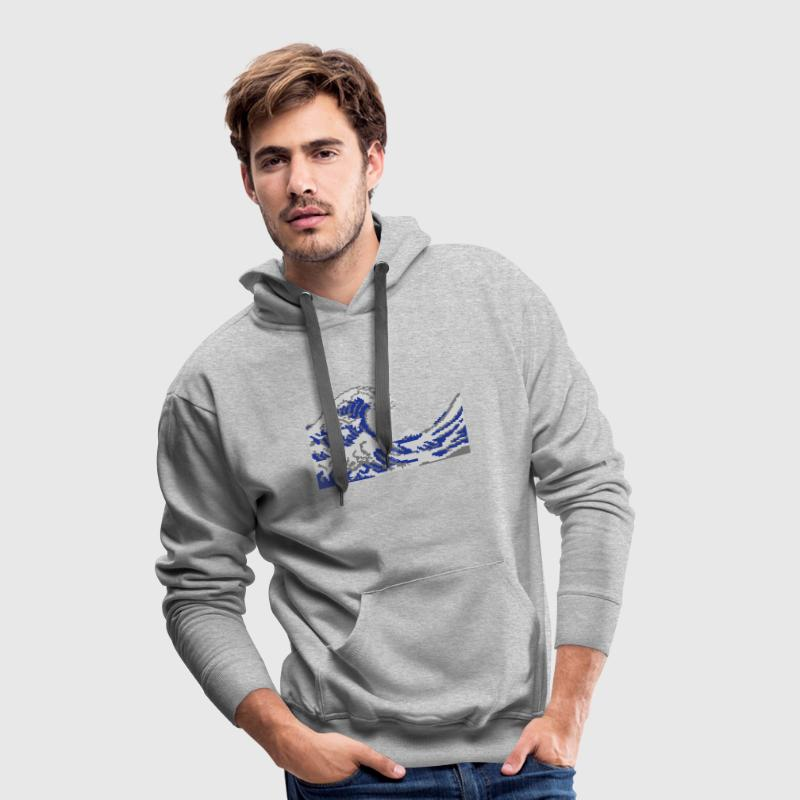 Hokusai pixel art vague 3 couleurs Sweat-shirts - Sweat-shirt à capuche Premium pour hommes