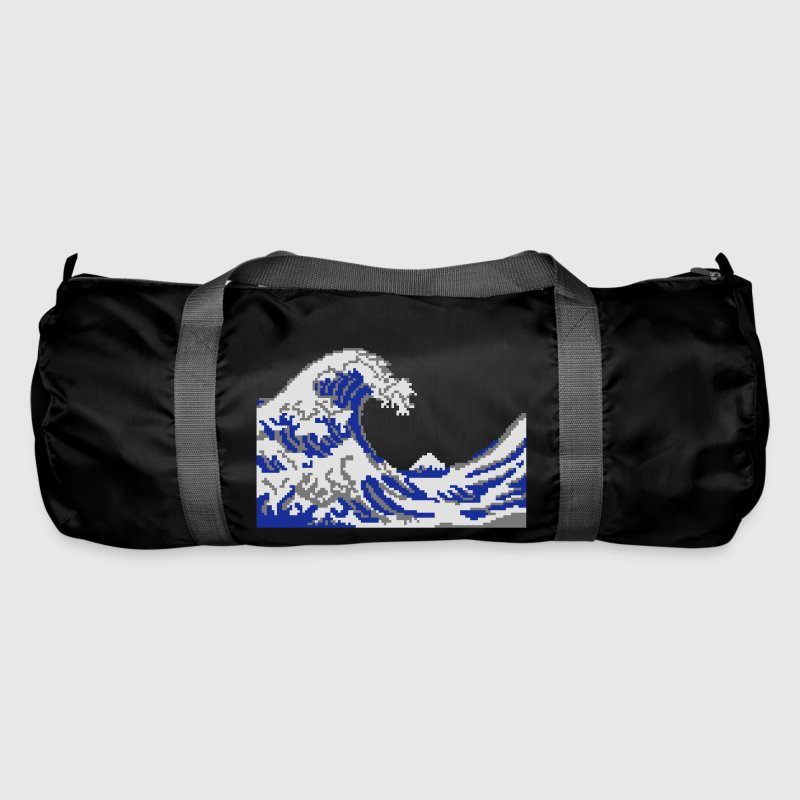 Hokusai pixel art vague 3 couleurs Sacs - Sac de sport