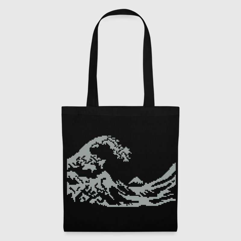 Hokusai vague pixel art blanc Sacs - Tote Bag