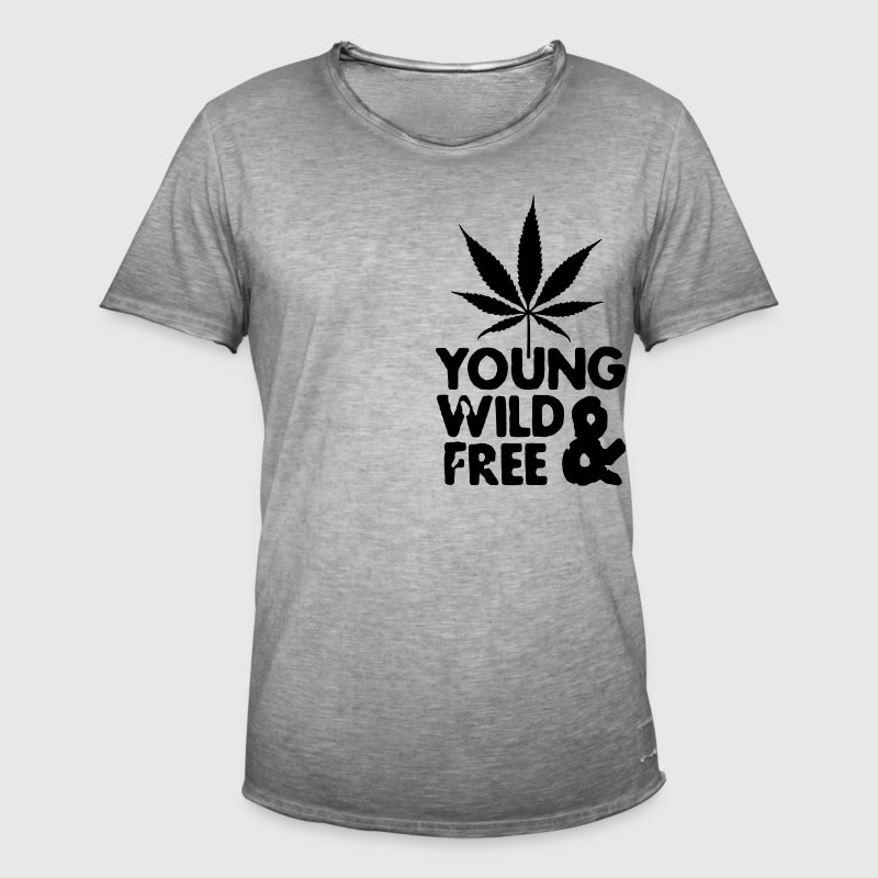 young wild and free weed leaf Hosen & Shorts - Männer Vintage T-Shirt