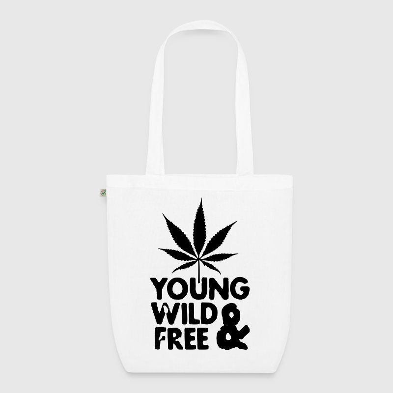 young wild and free weed leaf Bags  - EarthPositive Tote Bag