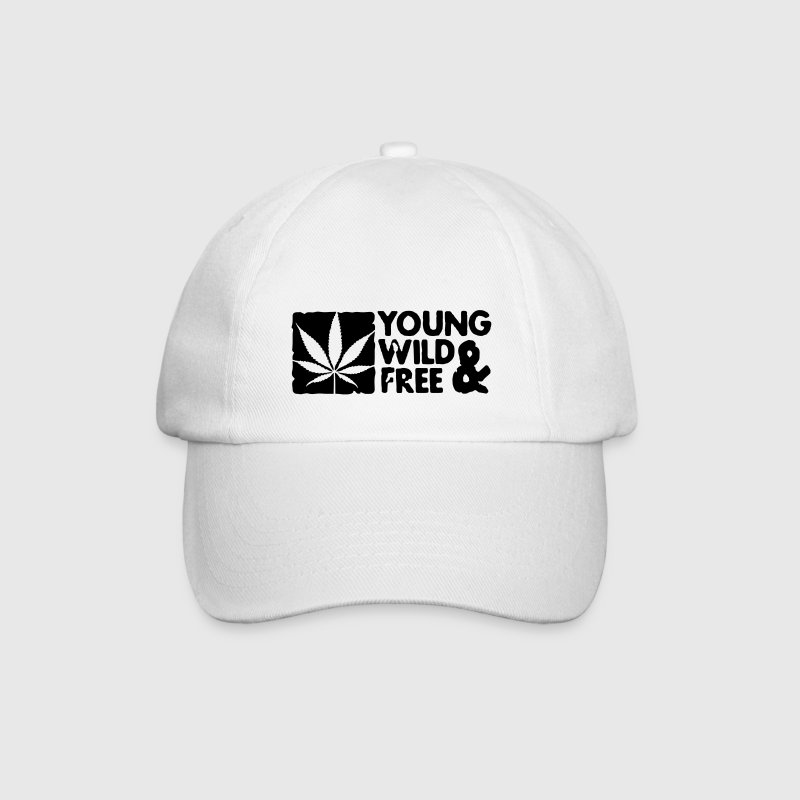 young wild and free weed leaf boxed Caps & Hats - Baseball Cap