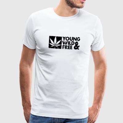 young wild and free weed leaf boxed Teddies - Men's Premium T-Shirt