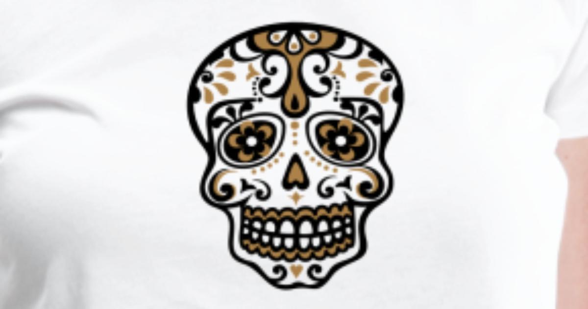 koszulka mexikanischer totenkopf skull blumen muster spreadshirt. Black Bedroom Furniture Sets. Home Design Ideas