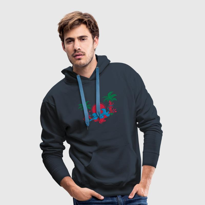 palm tree, beach, sun, sea, surf, holiday, palms   Sweat-shirts - Sweat-shirt à capuche Premium pour hommes