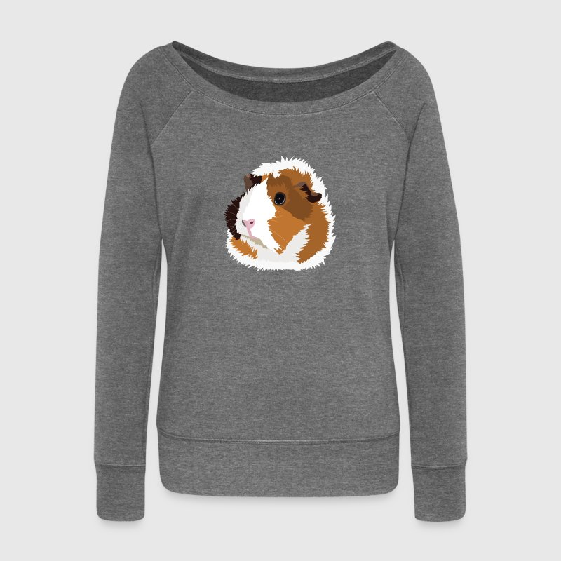Retro Guinea Pig 'Elsie' Ladies Sweater (no text) - Women's Boat Neck Long Sleeve Top
