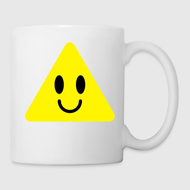 cute funny yellow triangle smiley smiling Bottles & Mugs - Mug