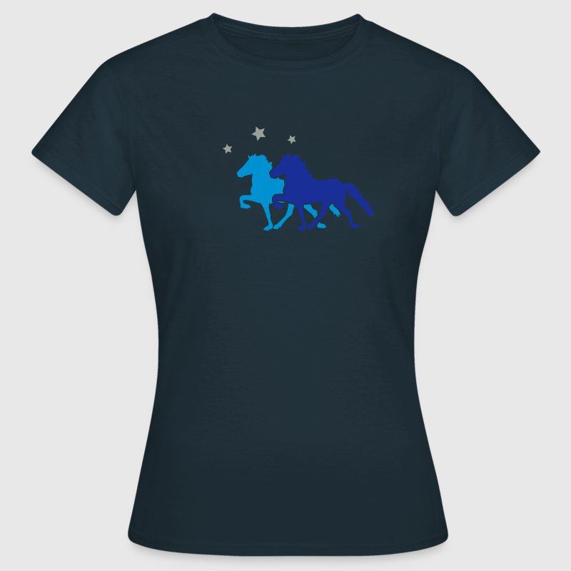 Two Horses with silver-metallic Stars  T-Shirts - Frauen T-Shirt
