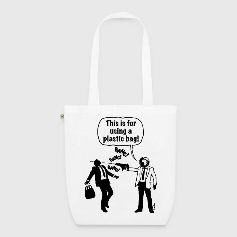 Cartoon: Anti-Plastic Waste Activist (1C) Bags & backpacks - EarthPositive Tote Bag