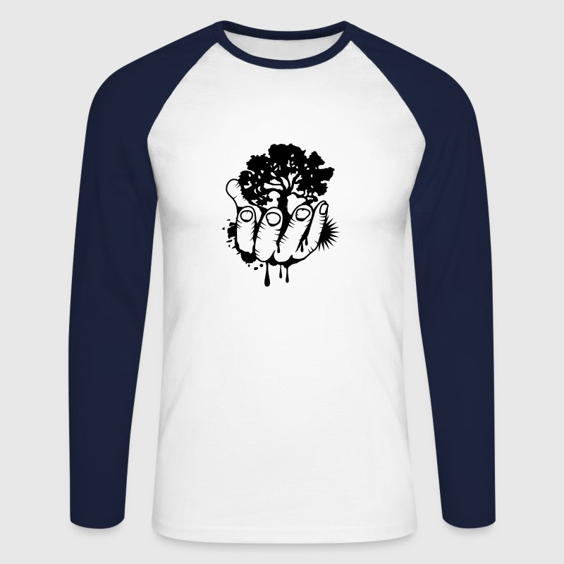 A tree held by a hand Long sleeve shirts - Men's Long Sleeve Baseball T-Shirt