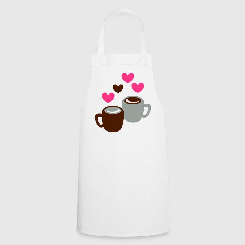 two cute coffee tea cups in love  Aprons - Cooking Apron