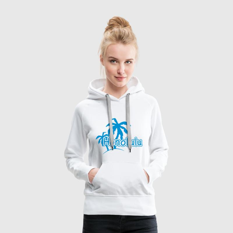 Honolulu Palmen un rivage Hawaii un congé 1c Sweat-shirts - Sweat-shirt à capuche Premium pour femmes