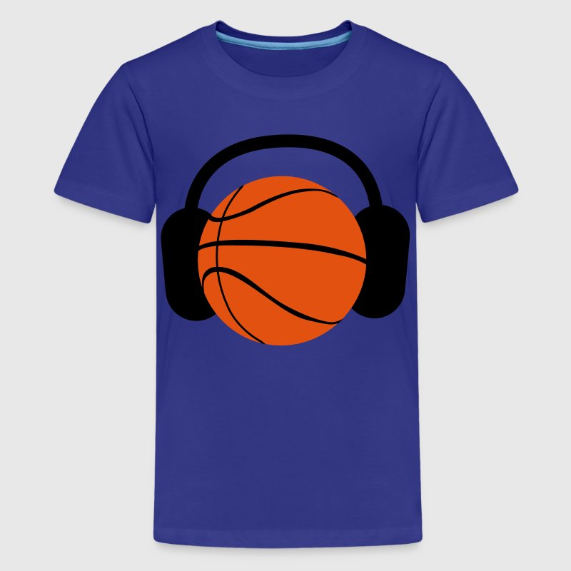 BASKETBALL with headphones listening to music Kids' Shirts - Teenage Premium T-Shirt