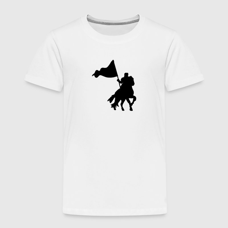 heroic medieval knight on a war horse with flag Shirts - Kids' Premium T-Shirt