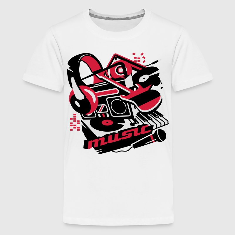 Cassette player, headphones and a turntable Shirts - Teenage Premium T-Shirt