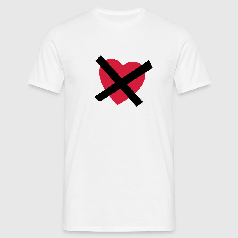 Blanc Crossed our Heart - No Love - No Heart T-shirts - T-shirt Homme