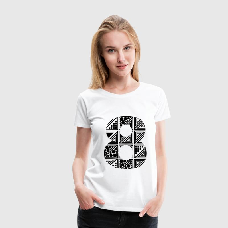 White  Women's number eight 8 T-Shirts - Women's Premium T-Shirt