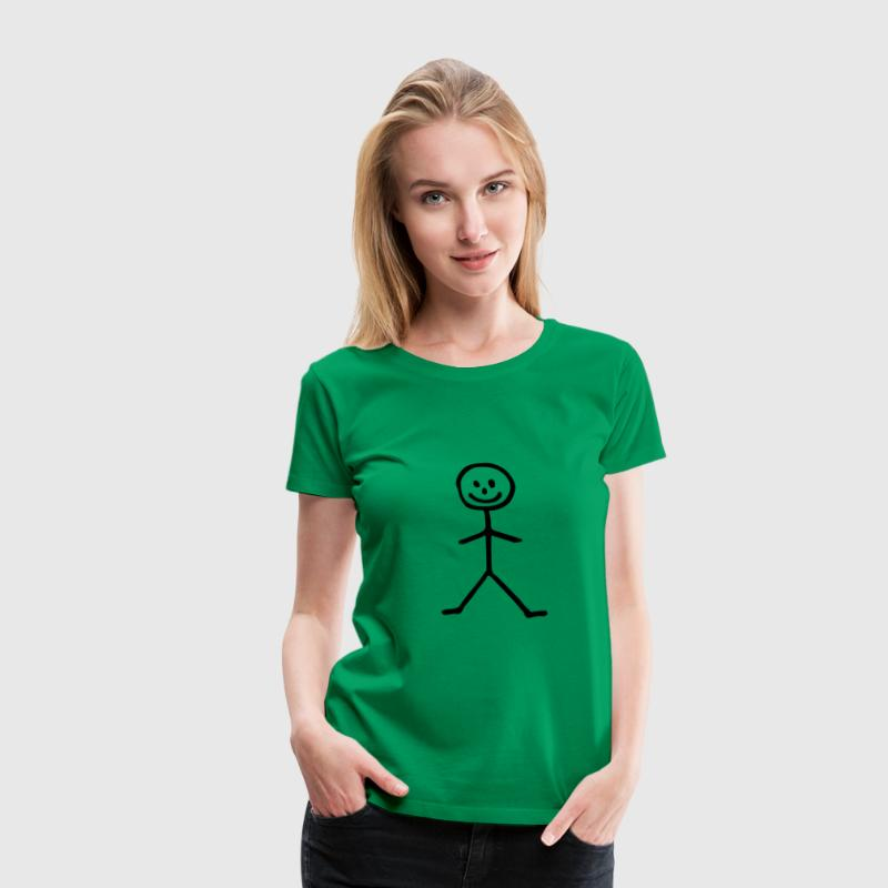 Kelly green Strichmännchen - Mann T-Shirts - Frauen Premium T-Shirt