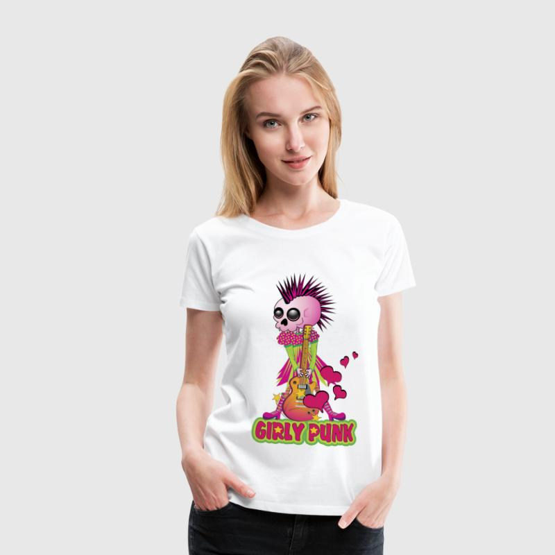 Girly Punk Rock Skull - Women's Premium T-Shirt