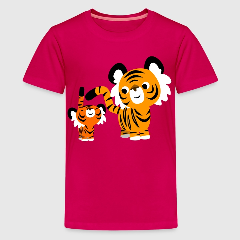 Pink Cute Cartoon Small and Big Tigers by Cheerful Madness!! Kids' Shirts - Teenage Premium T-Shirt