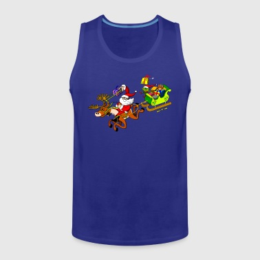 Santa's Gift Delivery with a Slingshot Kids' Shirts - Men's Premium Tank Top