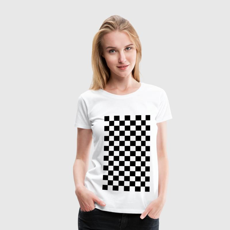 karo muster retro schwarz weiss t shirt spreadshirt. Black Bedroom Furniture Sets. Home Design Ideas