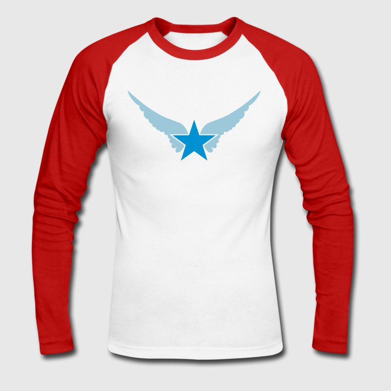 Hero Star, Wings, Superhero, Comic, Style, Cartoon Long sleeve shirts - Men's Long Sleeve Baseball T-Shirt