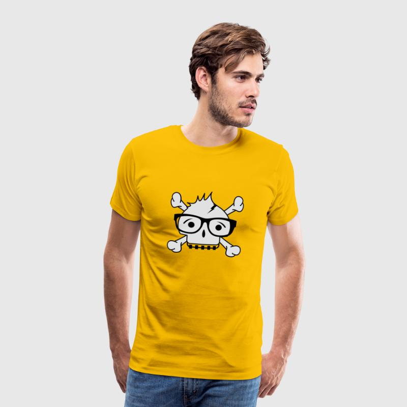A skull with nerd glasses and braces T-Shirts - Men's Premium T-Shirt