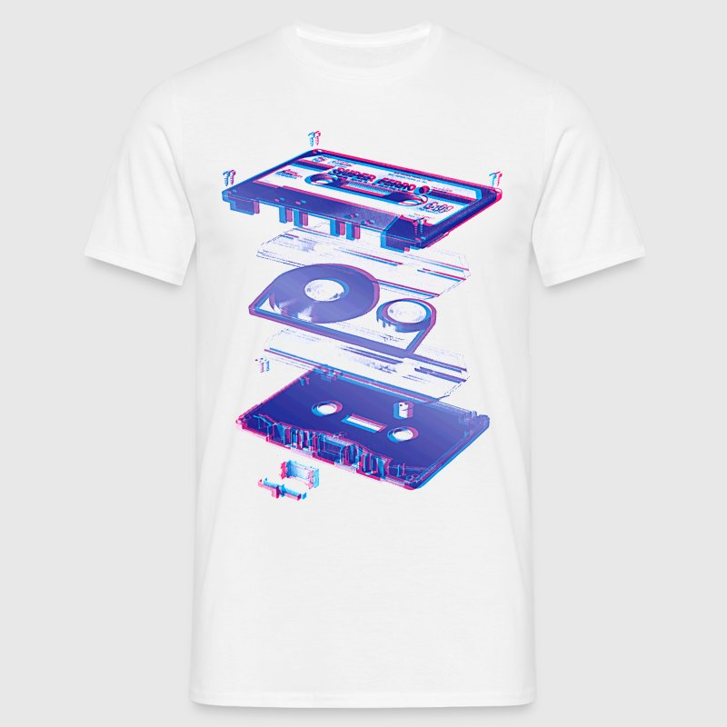 Hvid audio cassette tape compact 80s retro walkman T-shirts - Herre-T-shirt