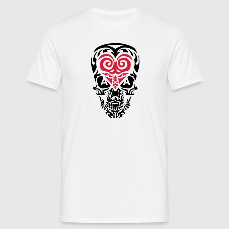 tete mort tribal skull as coeur poker 1 Tee shirts - T-shirt Homme