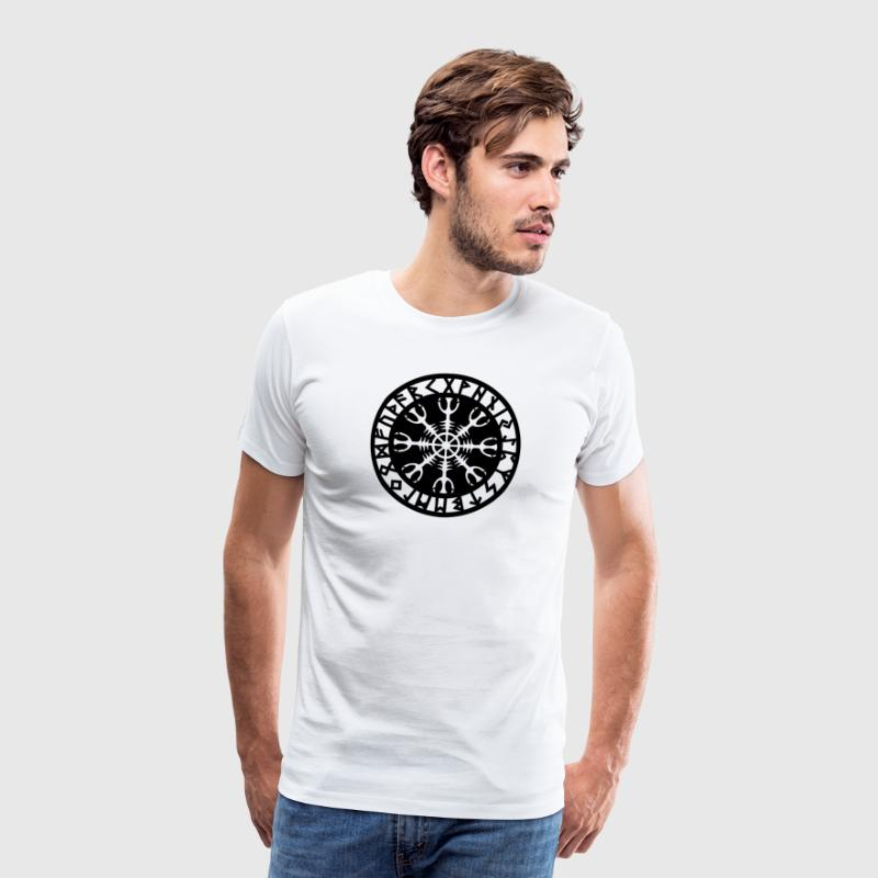 Helm of awe, Aegishjalmur, protection symbol, rune T-shirts - Herre premium T-shirt