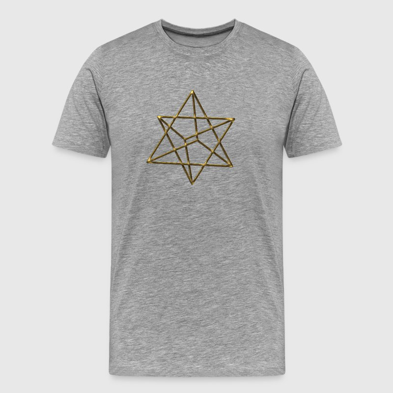 Merkaba, 3D, gold, divine light vehicle, sacred ge - Men's Premium T-Shirt