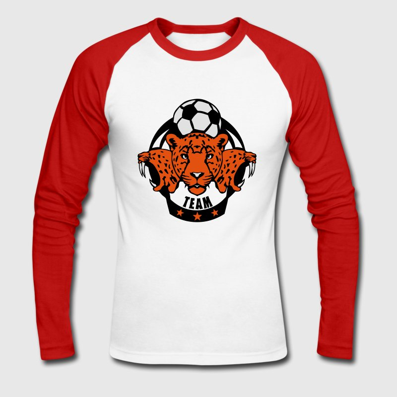 foot guepard soccer profil animal logo Tee shirts manches longues - T-shirt baseball manches longues Homme