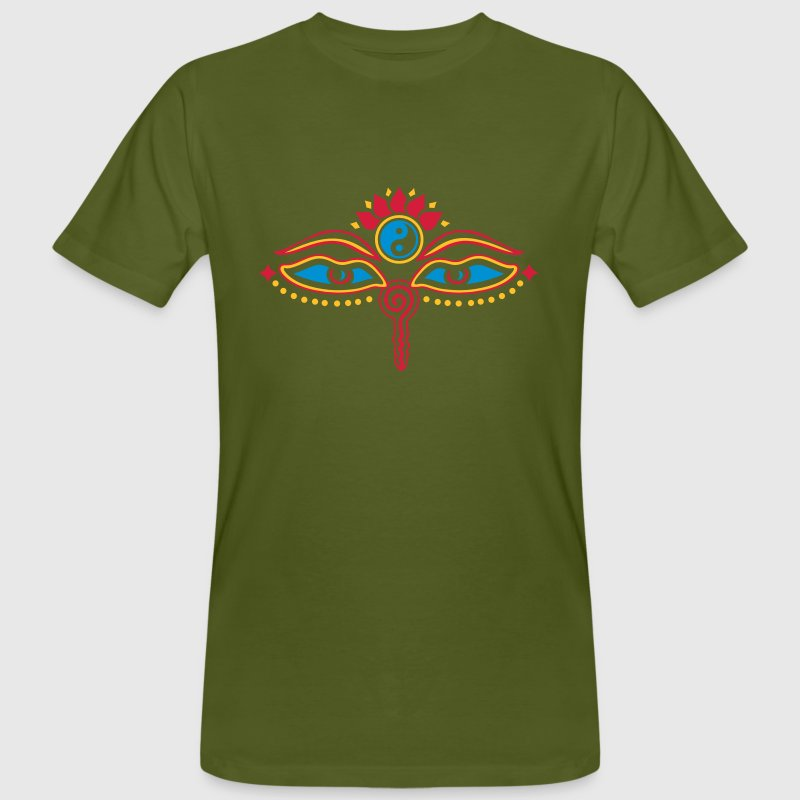 Buddha Eyes, Lotus, symbol wisdom & enlightenment Tee shirts - T-shirt bio Homme