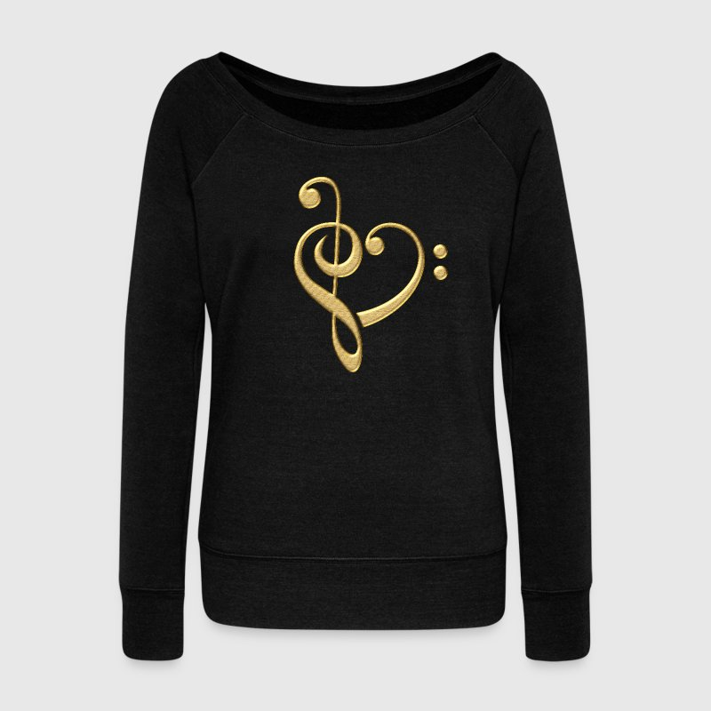 Bass clef heart, treble clef, music lover, notes Hoodies & Sweatshirts - Women's Boat Neck Long Sleeve Top
