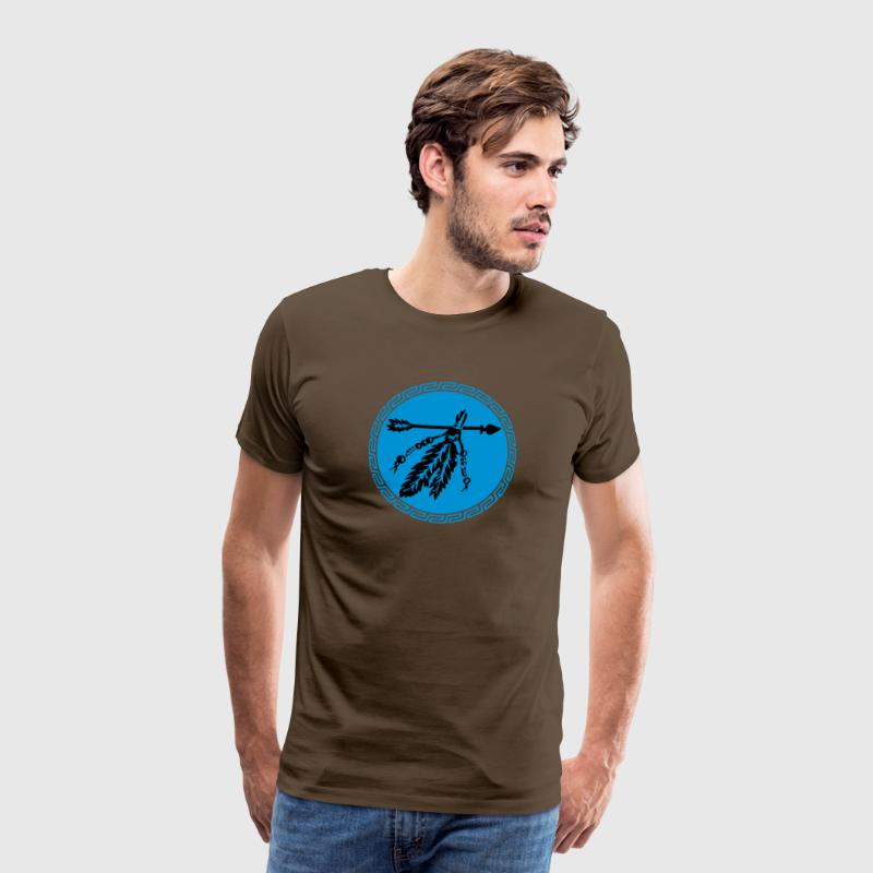 Arrow with feathers, protection & power symbol T-shirts - Herre premium T-shirt