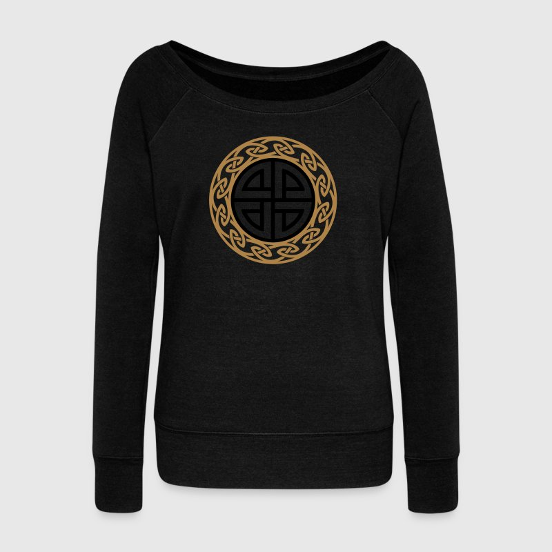 Celtic Shield Knot, Protection, Four Corner, Norse Hoodies & Sweatshirts - Women's Boat Neck Long Sleeve Top
