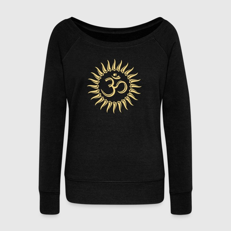 Om sun, Buddhism, yoga, spiritual, meditation Hoodies & Sweatshirts - Women's Boat Neck Long Sleeve Top