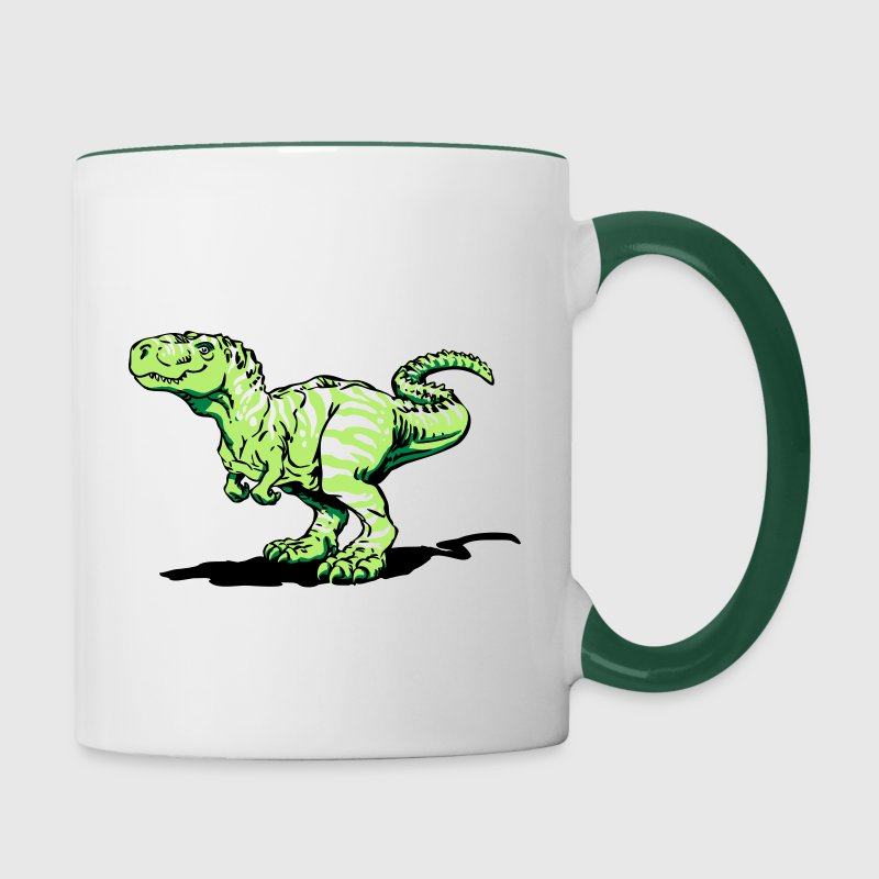 White/dark green Tyrannosaurus rex (3 colors) Bottles & Mugs - Contrasting Mug