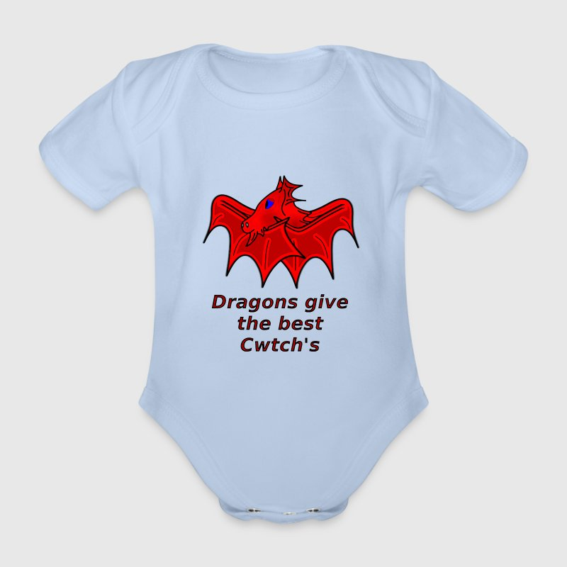 wales dragons give the best welsh cwtch's - Organic Short-sleeved Baby Bodysuit