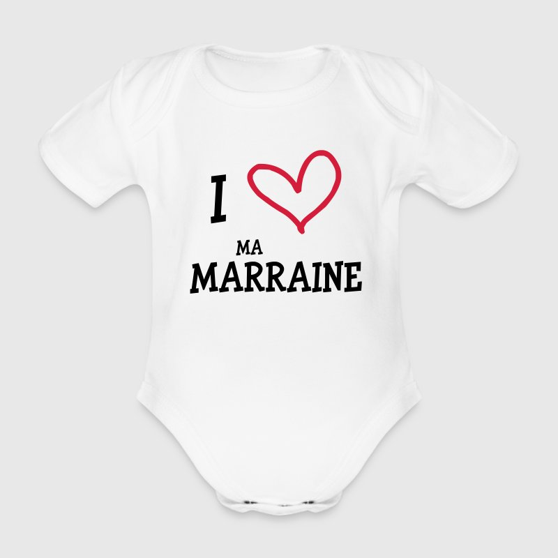 I Love ma Marraine Tee shirts - Body bébé bio manches courtes