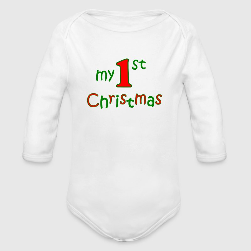 my first christmas Hoodies - Organic Longsleeve Baby Bodysuit