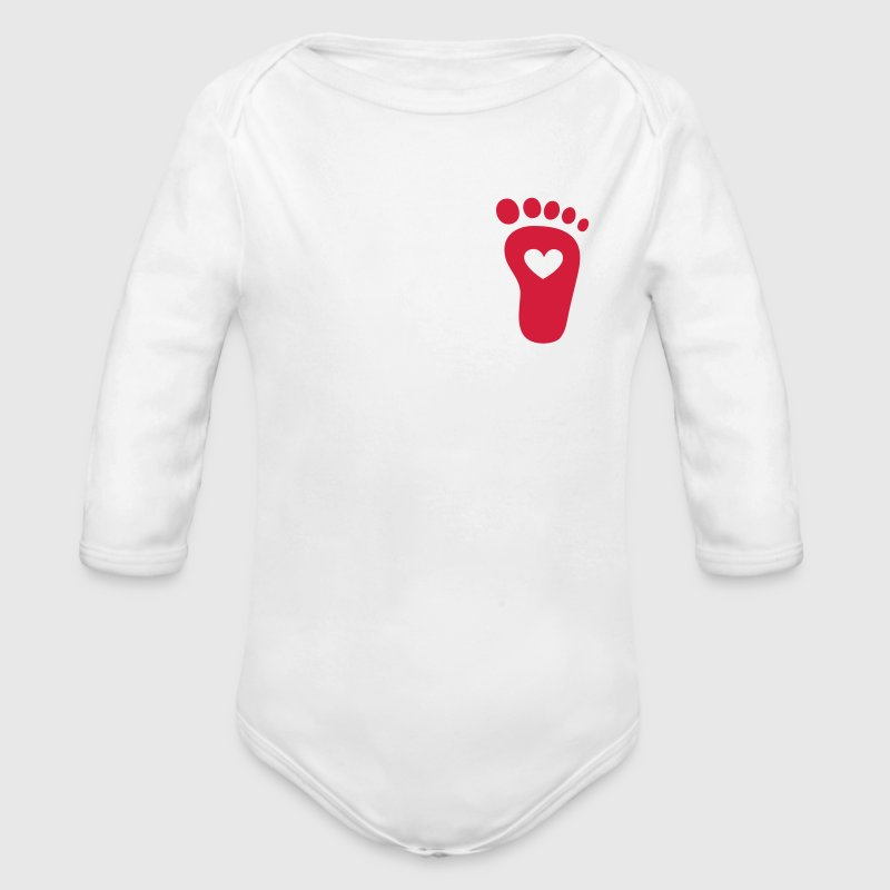 Baby foot, heart, birth, gift, mom, pregnancy Hoodies - Organic Longsleeve Baby Bodysuit
