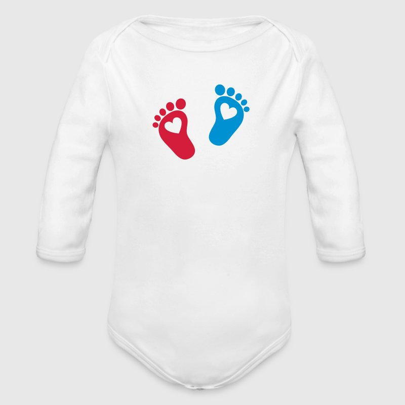 Baby feet, heart, cute, baptism, gift, Mom, birth Pullover & Hoodies - Baby Bio-Langarm-Body
