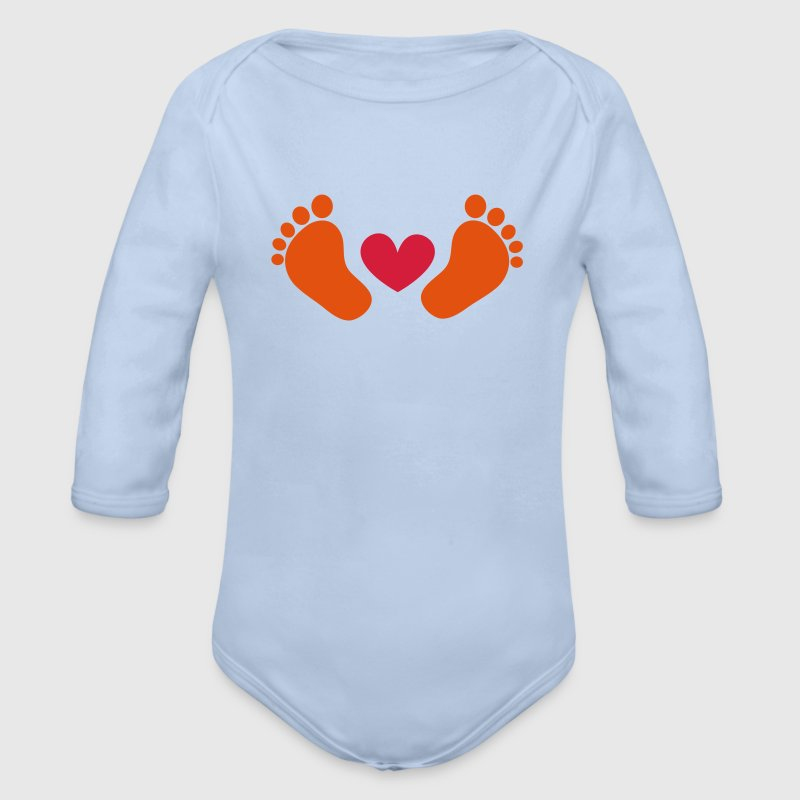 Baby feet, heart, gift, birth, mum, dad, boy, girl Hoodies - Organic Longsleeve Baby Bodysuit