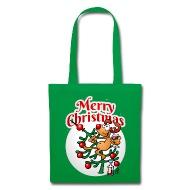 un reno en un rbol de navidad merry christmas bolsas y mochilas bolsa de