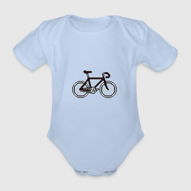 Pixel Cycle Bike Bicycle Fahrrad  Retro rot weiß T-Shirts - Baby Bio-Kurzarm-Body
